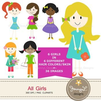 Kids Cliparts : Girls, Friends, Different Hair colors.