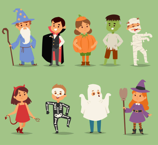 Best Halloween Costume Illustrations, Royalty.