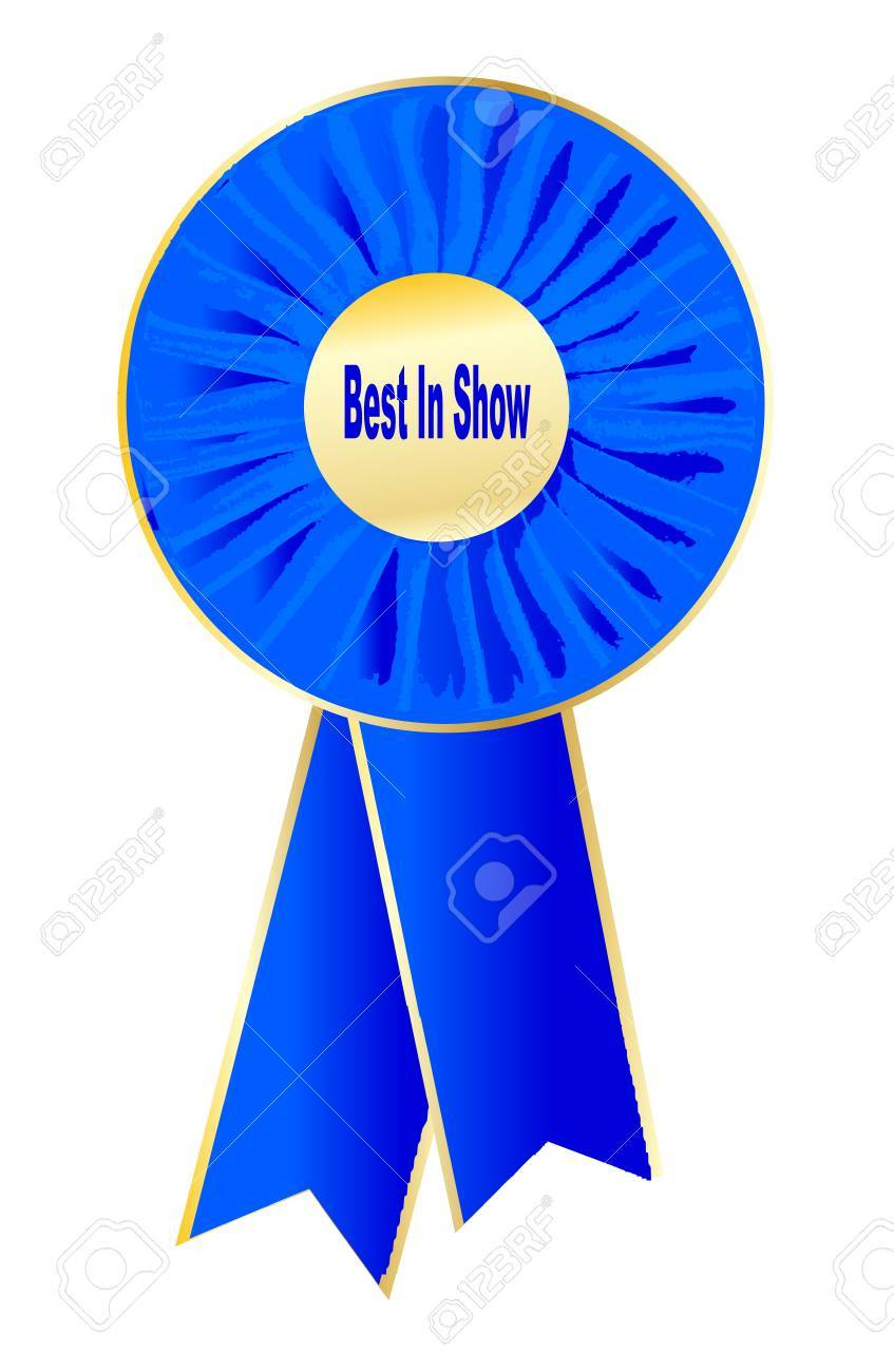 A rosette with the words best in showin the centre.