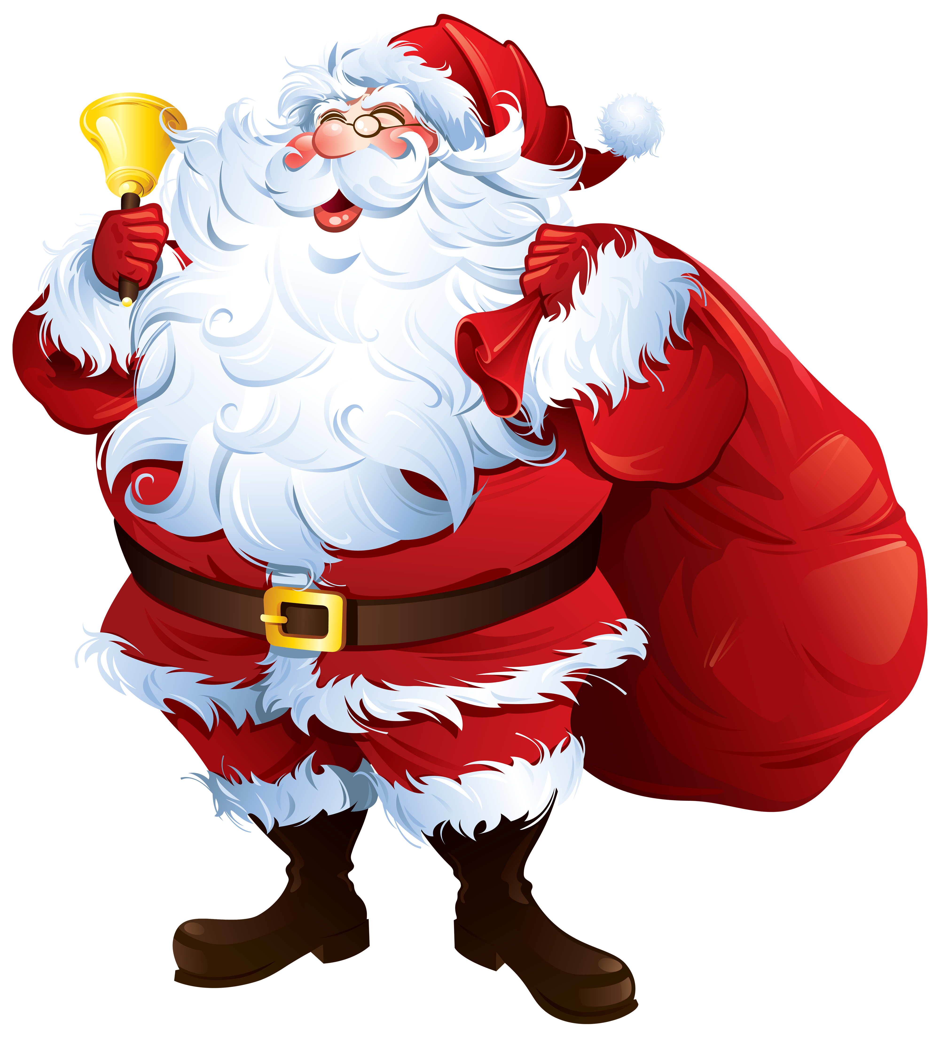 Santa Claus with Bell and Bag PNG Clipart.
