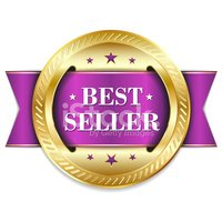 Purple Gold Best Seller Badge With Ribbon Stock Vector.