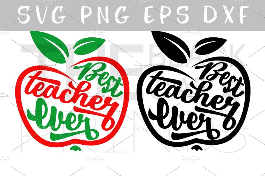 Best teacher ever Apple SVG PNG EPS.