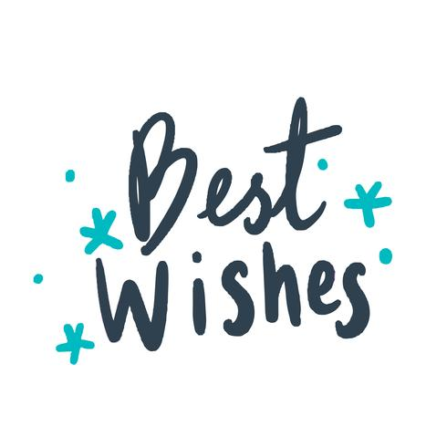 Best wishes typography vector in blue.