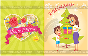 Best Wishes for You Merry Christmas Postcard Heart.