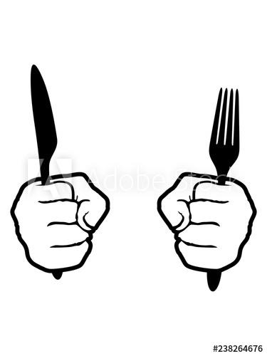 kontur 2 hände gabel messer besteck essen gehen hunger mittagessen.