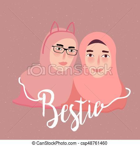 bestie best friend two girl islam wearing scarf veil.