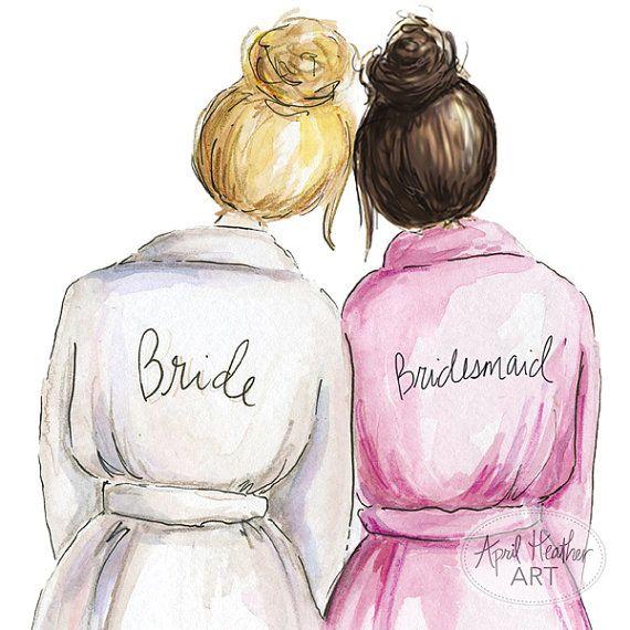 Bridesmaid PDF Download printable cards, blonde bride, dark.