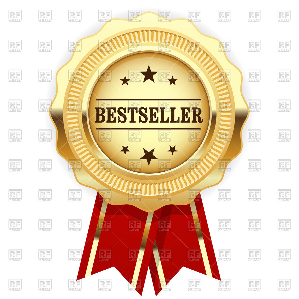 Golden medal bestseller with red ribbon Vector Image #124252.