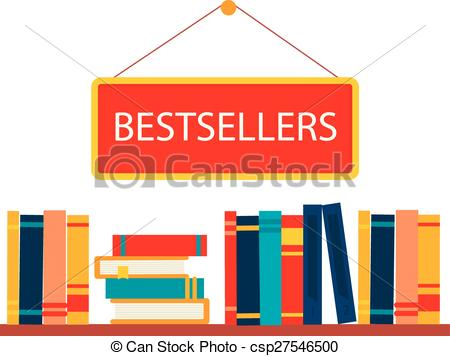 Vector Clipart of Bestsellers sign in bookstore, vector.