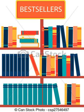 EPS Vectors of Bestsellers sign in bookstore, vector illustration.