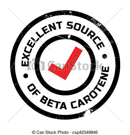 Stock Photo of Excellent source of beta carotene stamp. Grunge.