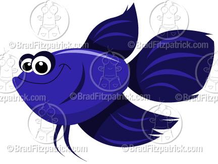 Cute beta fish clipart.