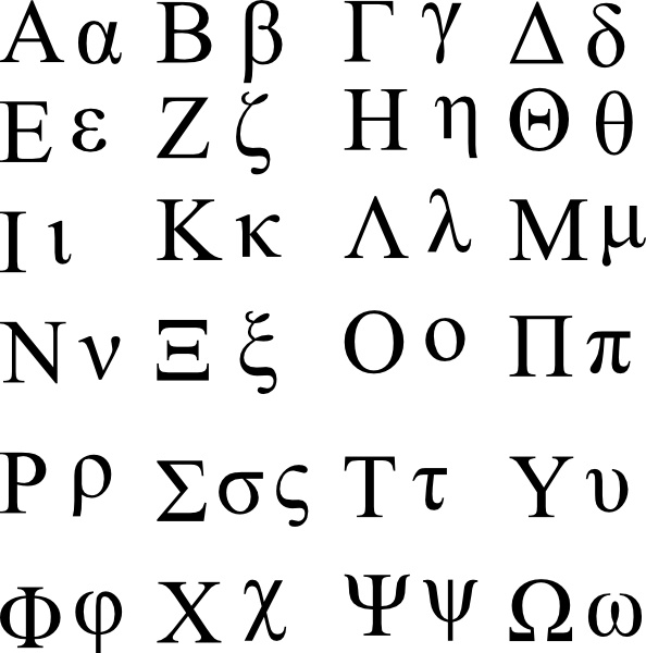 Greek Alphabet clip art Free vector in Open office drawing svg.