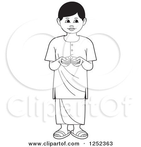 Clipart of a Black and White Boy with Sinhala Betel.