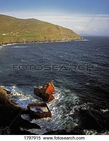 Stock Image of Shipwreck of the Betelgeuse in the Dingle Peninsula.