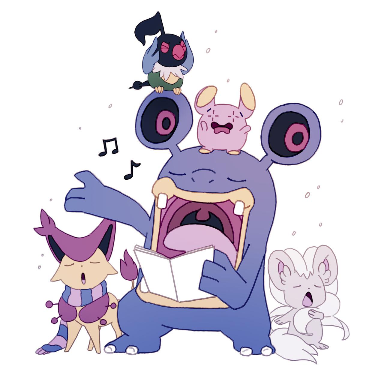 Pokemon Problems (bluekomadori: Silly xmas/winter pokemon doodles).