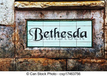 Stock Images of Bethesda street sign in Jerusalem, Israel.