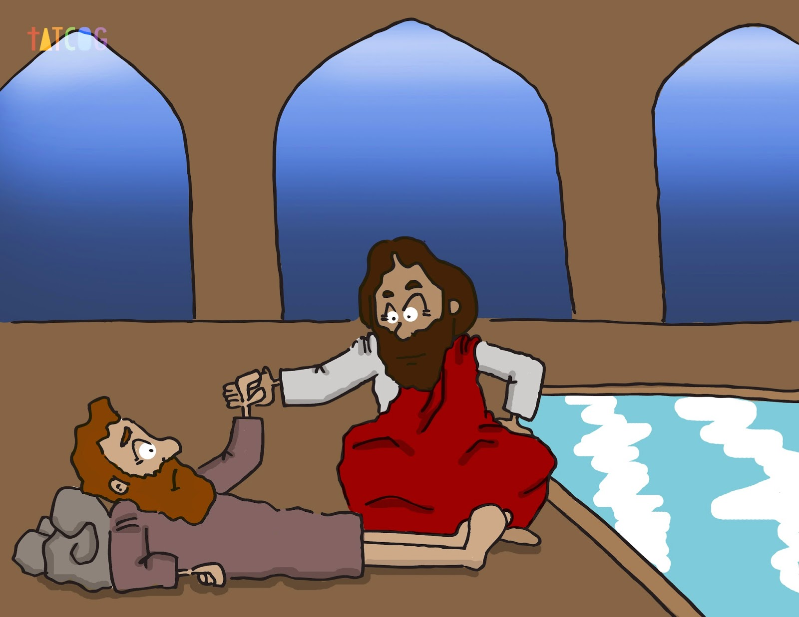 Jesus heals at the pool of Bethesda.