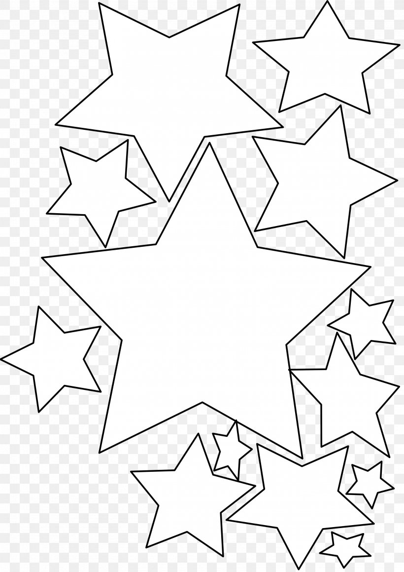 Black And White Line Art Star Of Bethlehem Clip Art, PNG.