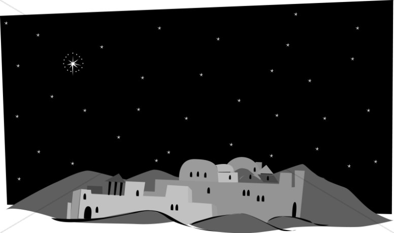 Grayscale Town of Bethlehem.