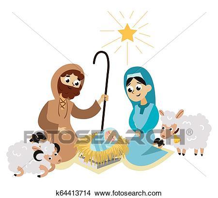 Baby Jesus born in Bethlehem scene in holy family Clipart.