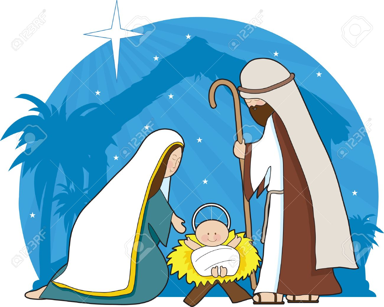 A nativity scene with the star of Bethlehem in the background.