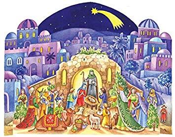 Traditional Bethlehem Nativity Scene Christmas Advent Calendar With Envelope.