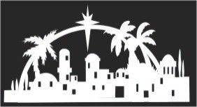 Bethlehem arch silhouette pattern / Christmas Clip Art.