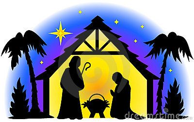 Black and White Nativity Clip Art.