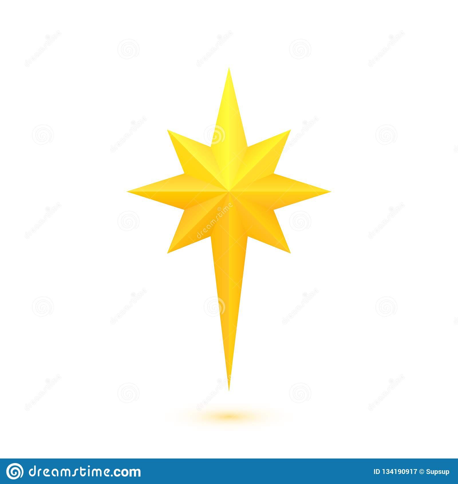 Bright Golden Christmas Star Stock Vector.