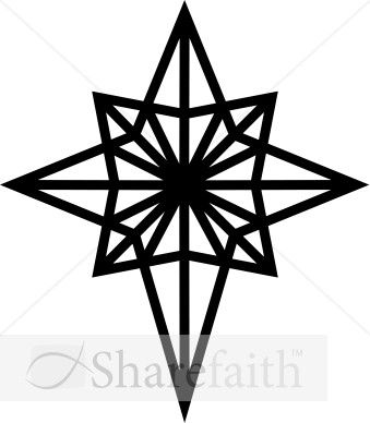 Black and White Epiphany Star Clipart.