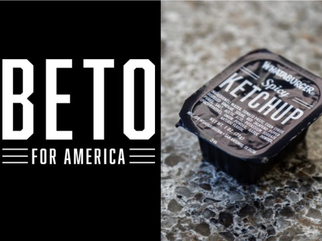Beto O\'Rourke logo prompts Whataburger comparisons.