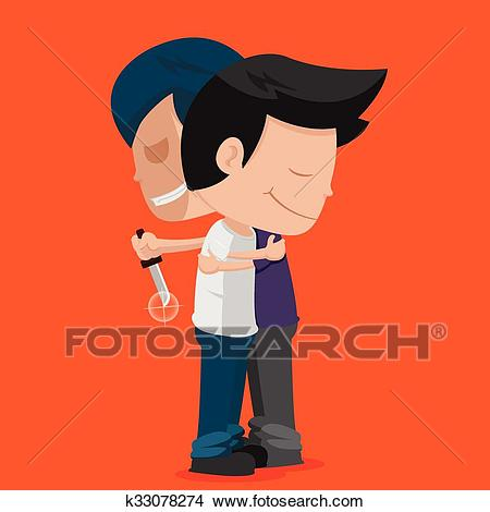 Man Friend Stab Hug Betray Clipart.