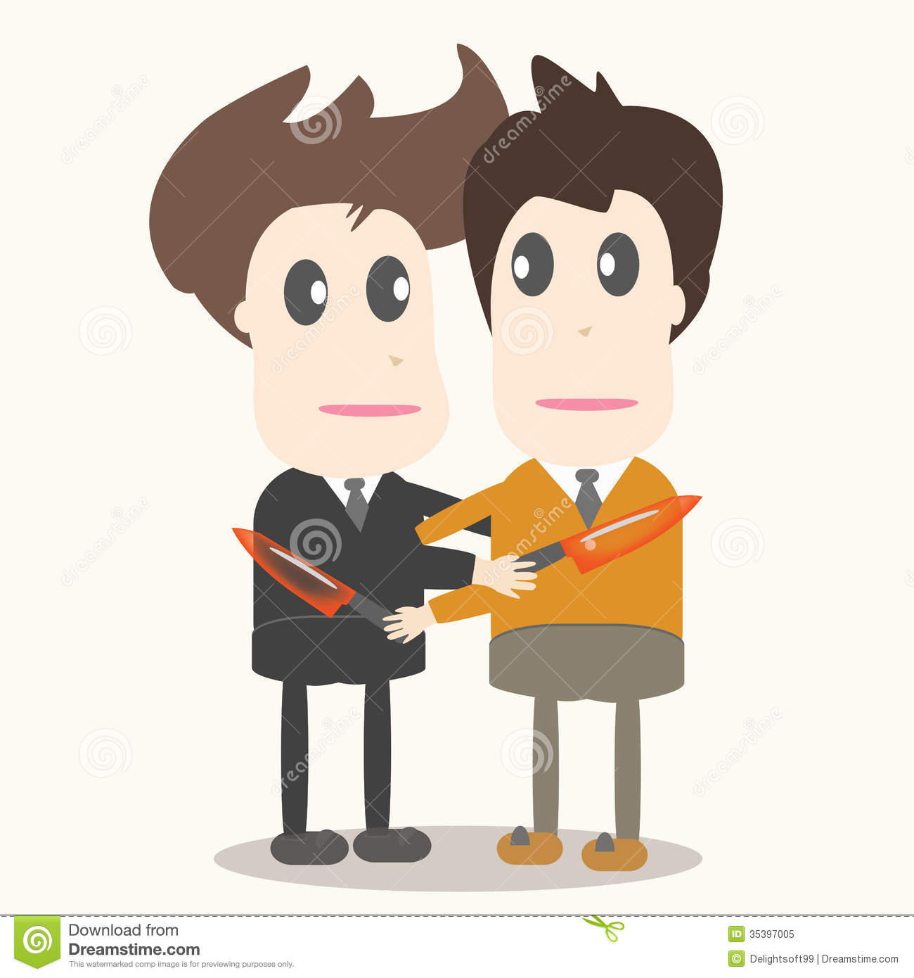 Betrayal, Business Man Illustration. Royalty Free Stock Photo.