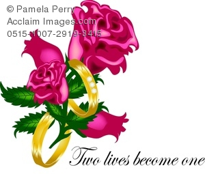 Clip Art Image of a Romantic Wedding Graphic With Roses and.