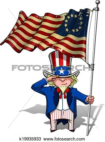 Clipart of Uncle Sam Saluting the Betsy Ross Flag k19935933.