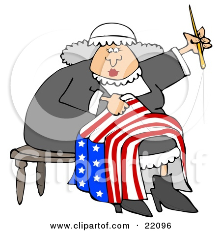 Clipart of a Cartoon Woman, Betsy Ross, Sewing a Flag.