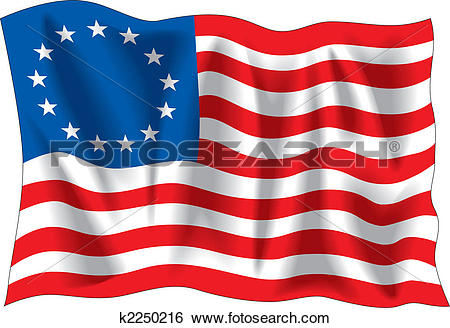 Clip Art of Betsy Ross flag k2250216.