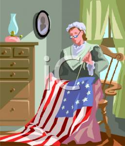 Ross Sewing the American Flag Clipart Image.