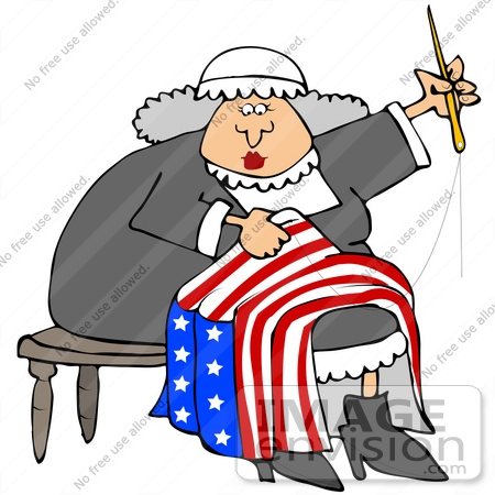 Clip Art Graphic of Gray Haired Betsy Ross Sewing the 13 Starred.