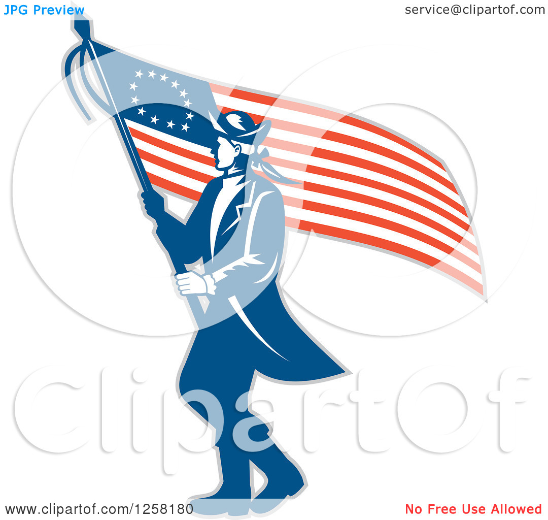 Clipart of a Retro Revolutionary Soldier Walking with an American.