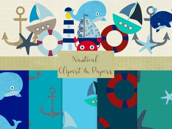 Nautical Clip Art & Seamless Paper Pack, High Resolution, PNG & Jpeg Files..