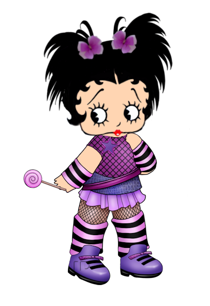Little Betty with her purple lollipop #illustration.
