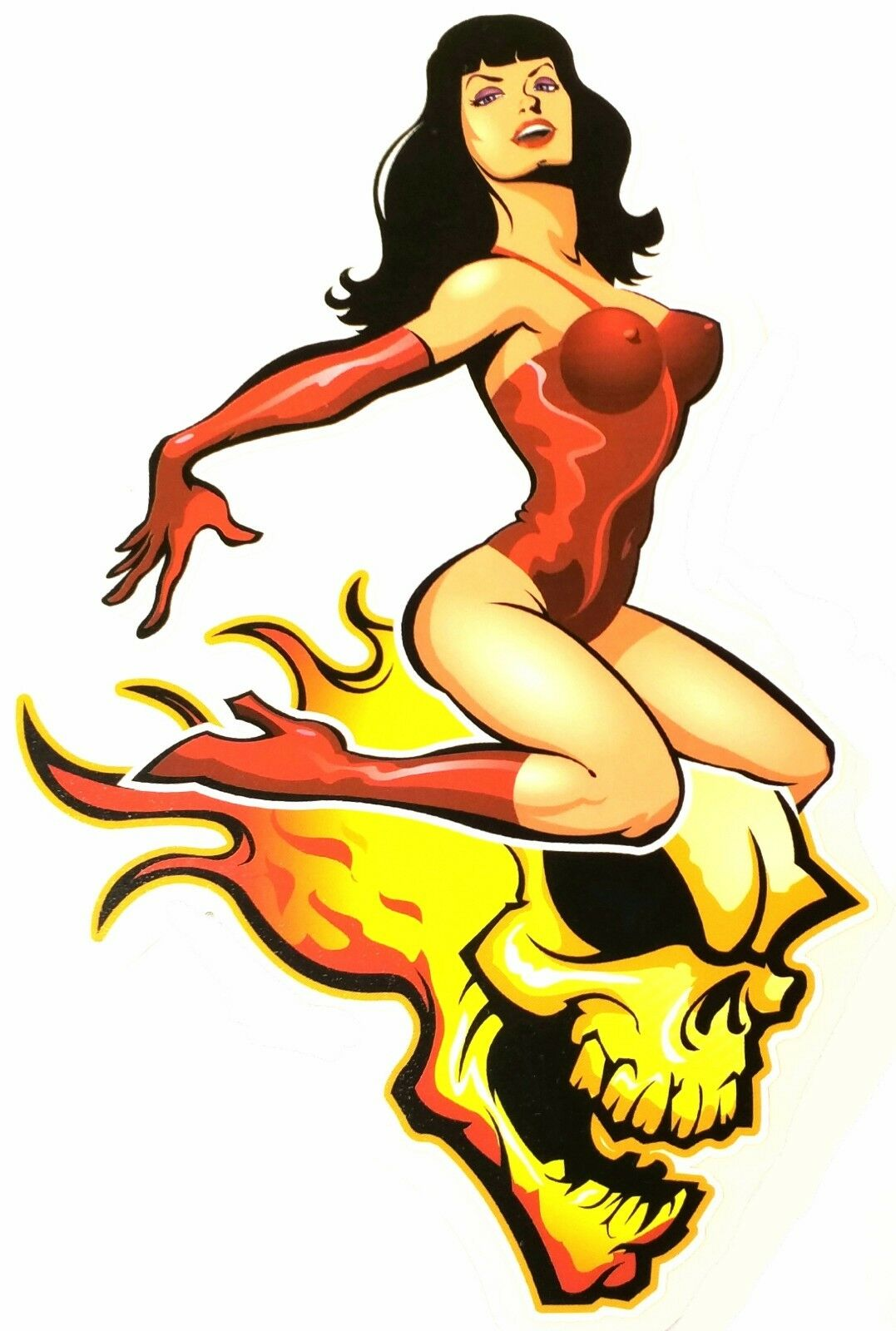 ROCKABILLY Pinup Queen BETTIE PAGE ON FLAMING Skull HOTROD Sticker.