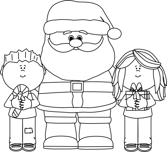Black and White Santa with Kids Clip Art.