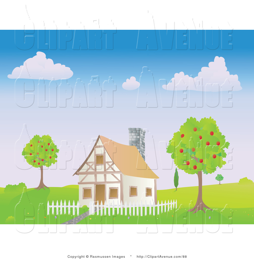 Avenue Clipart of a Chalet House with a White Picket Fence Between.