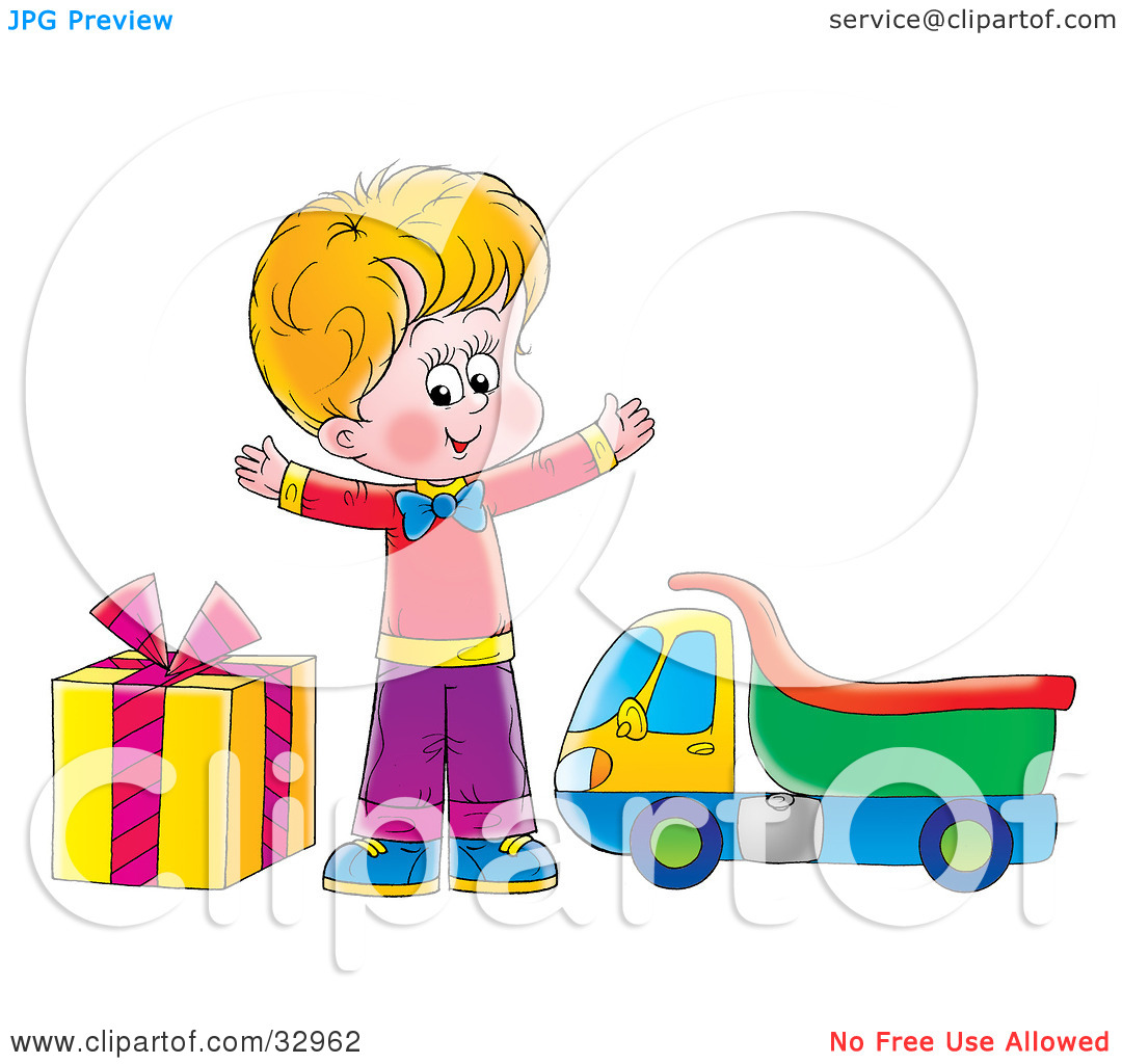 Clipart Illustration of a Happy Blond Boy Standing Between A Gift.