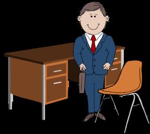Teacher / Manager Between Chair And Desk Clip Art at Clker.com.