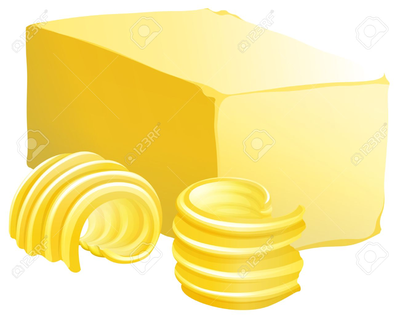 Bar of butter with two slices on the side.