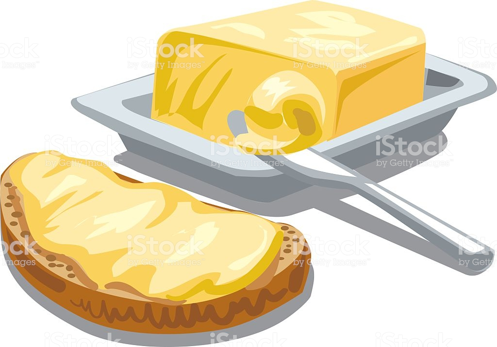 Butter With Bread Stock Illustration.